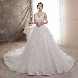 Chic / Beautiful Ivory Wedding Dresses 2019 A-Line / Princess V-Neck Beading Sequins Pearl Lace Flower Sleeveless Backless Chapel Train