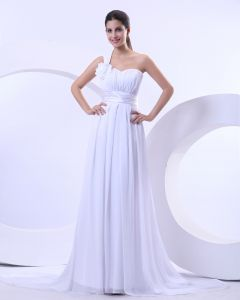 Chiffon Empire One Shoulder Sweetheart Chapel Train Wedding Dress