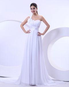 Chiffon Empire One Shoulder Sweetheart Chapel Train Wedding Dress