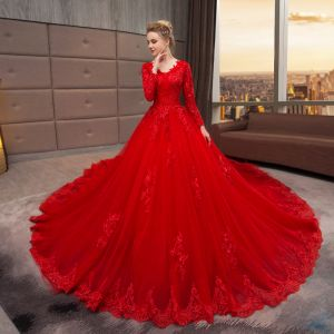 Chinese style Muslim Red Wedding Dresses 2019 A-Line / Princess V-Neck Lace Flower Crystal Sequins Long Sleeve Royal Train