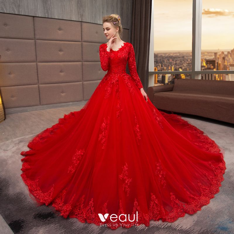 Chinese Style Muslim Red Wedding Dresses 2019 A Line Princess