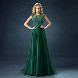 Chic / Beautiful Dark Green Satin Tulle See-through Evening Dresses  2019 A-Line / Princess Scoop Neck Sleeveless Appliques Lace Beading Pearl Sweep Train Ruffle Formal Dresses