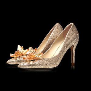 Sjarmerende Champagne Krystall Brudesko 2020 Rhinestone 9 cm Stiletthæler Spisse Bryllup Pumps
