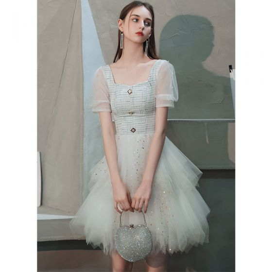 Fashion Ivory Homecoming Graduation Dresses 2020 A-Line / Princess Square Neckline Puffy Short Sleeve Beading Pearl Sequins Short Cascading Ruffles Backless