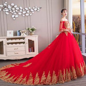 Chiński Styl Czerwone Suknie Ślubne 2019 Suknia Balowa Przy Ramieniu Złote Z Koronki Kwiat 1/2 Rękawy Bez Pleców Trenem Katedra