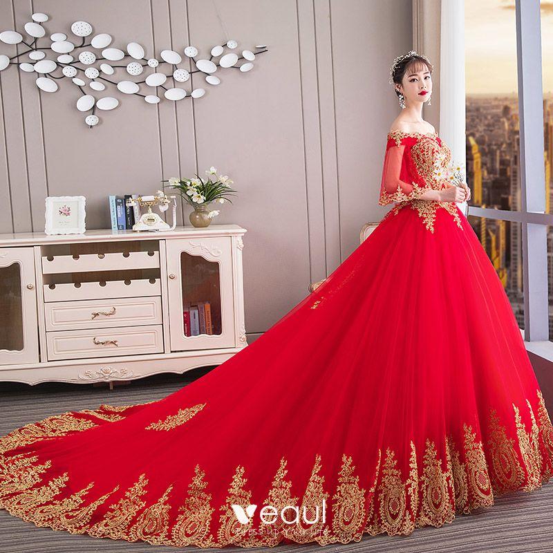 1b4cc8ba81 Chiński Styl Czerwone Suknie Ślubne 2019 Suknia Balowa Przy Ramieniu Złote  Z Koronki Kwiat 1 2 Rękawy ...