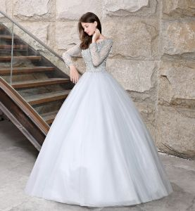 Sparkly Grey Prom Dresses 2018 Ball Gown Beading Sequins Scoop Neck Long Sleeve Backless Floor-Length / Long Formal Dresses