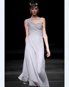 One Shoulder Floor-length Chiffon Cocktail Dress