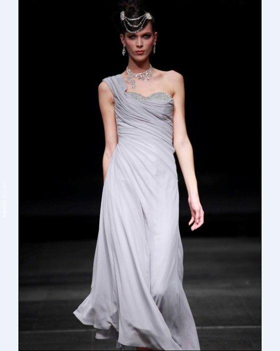 One Shoulder Floor-length Chiffon Cocktail Dress