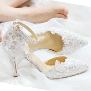 Sexy Marfil Con Encaje Flor Zapatos de novia 2020 Rhinestone Correa Del Tobillo Lentejuelas 8 cm Stilettos / Tacones De Aguja Punta Estrecha Boda De Tacón