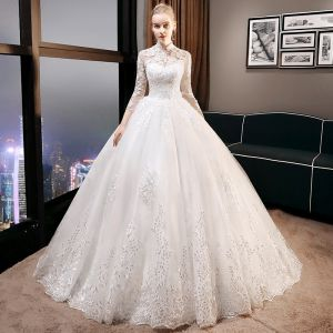 Vintage / Retro Affordable Ivory Wedding Dresses 2019 A-Line / Princess High Neck 3/4 Sleeve Backless Pierced Appliques Lace Glitter Tulle Cathedral Train Ruffle