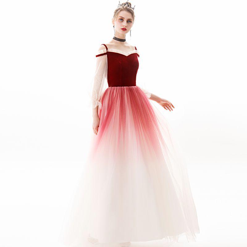 Modern / Fashion Burgundy Evening Dresses  2019 A-Line / Princess Square Neckline Suede 3/4 Sleeve Backless Floor-Length / Long Formal Dresses