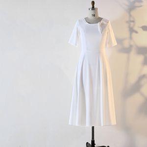 Sencillos Blanco Talla Extra Vestidos de noche 2020 A-Line / Princess 1/2 Ærmer U-escote Hecho a mano Color Sólido Té De Longitud Noche Verano Vestidos Formales