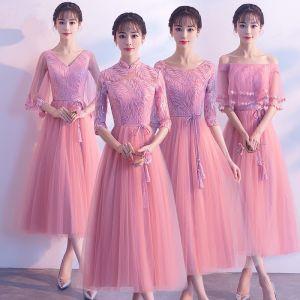 Chic / Beautiful Candy Pink Bridesmaid Dresses 2018 A-Line / Princess Sequins Sash Tassel Tea-length Ruffle Backless Wedding Party Dresses