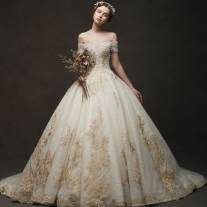 Luxury / Gorgeous Champagne Wedding Dresses 2019 Ball Gown Off-The-Shoulder Short Sleeve Backless Appliques Lace Beading Chapel Train
