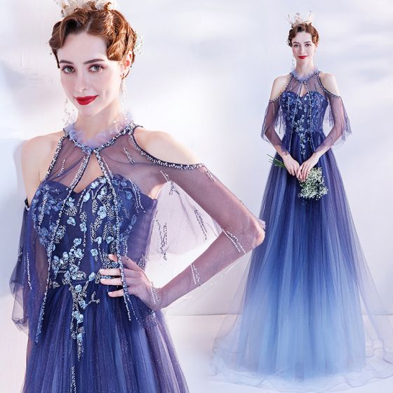 Charming Ocean Blue Prom Dresses 2021 A-Line / Princess Scoop Neck Beading Crystal Sequins Floor-Length / Long Short Sleeve Backless Prom Formal Dresses