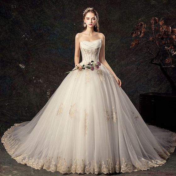 Affordable Ivory Wedding Dresses 2019 Ball Gown Sweetheart