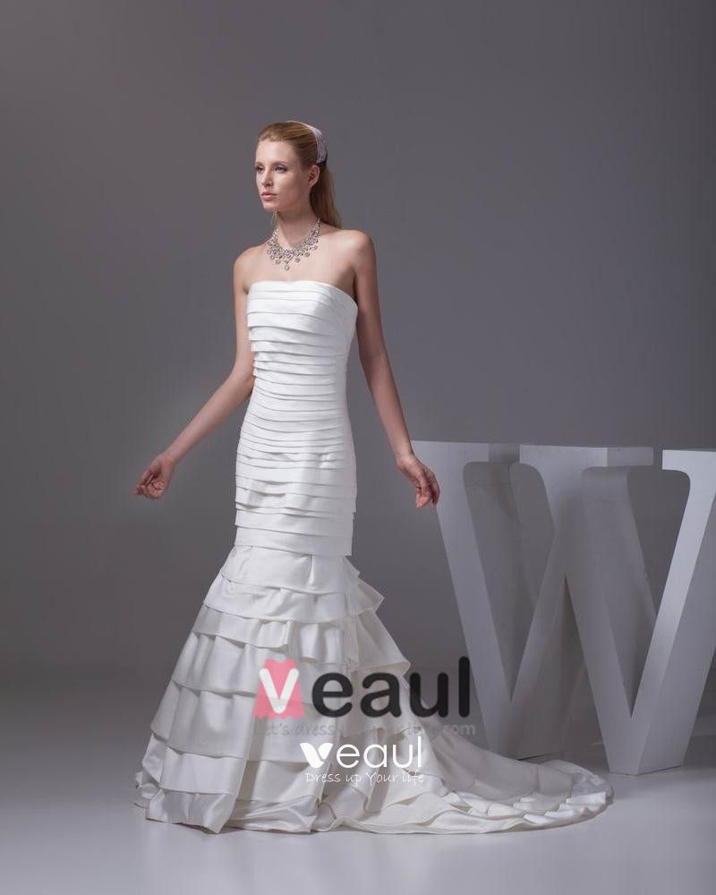 Fashion Satin Silk Pleated Strapless Floor Length Mermaid Wedding Dress