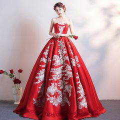 Chinese style Chic / Beautiful Burgundy Wedding Dresses 2019 A-Line / Princess Strapless Lace Flower Sleeveless Backless Floor-Length / Long