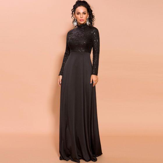 Skromna Czarne Cekiny Sukienki Wieczorowe 2020 Imperium Wysokiej Szyi Długie Rękawy Długie Sukienki Wizytowe