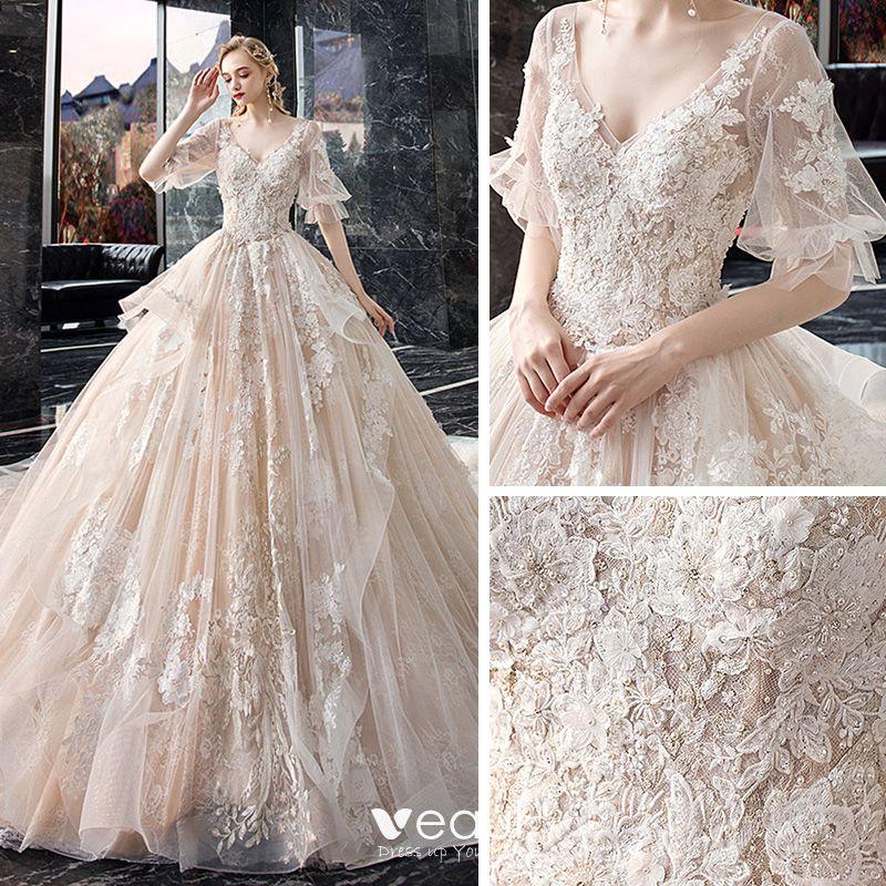 Elegant Champagne Wedding Dresses 2020 A-Line / Princess V