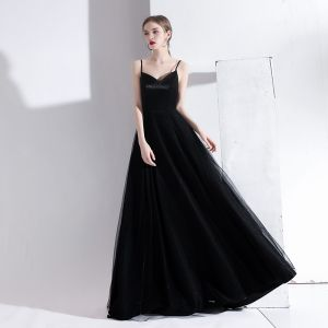 Modest / Simple Black Evening Dresses  2020 A-Line / Princess Spaghetti Straps Sleeveless Backless Floor-Length / Long Formal Dresses