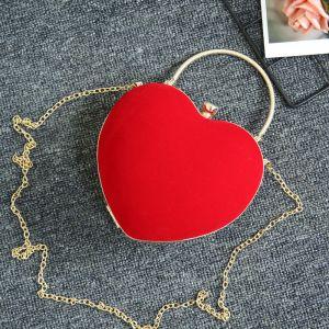 Mode Rode Velour Hartvormig Handtassen 2020 Metaal Accessoires