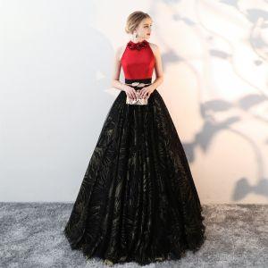 Piękne Czarne Sukienki Na Bal 2018 Princessa Tiulowe Wysokiej Szyi Aplikacje Frezowanie Druk Bal Sukienki Wizytowe
