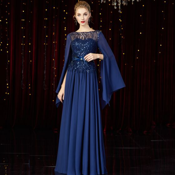 High-end Navy Blue Chiffon Evening Dresses  2020 A-Line / Princess See-through Square Neckline Long Sleeve Feather Sash Sequins Beading Floor-Length / Long Ruffle Backless Formal Dresses