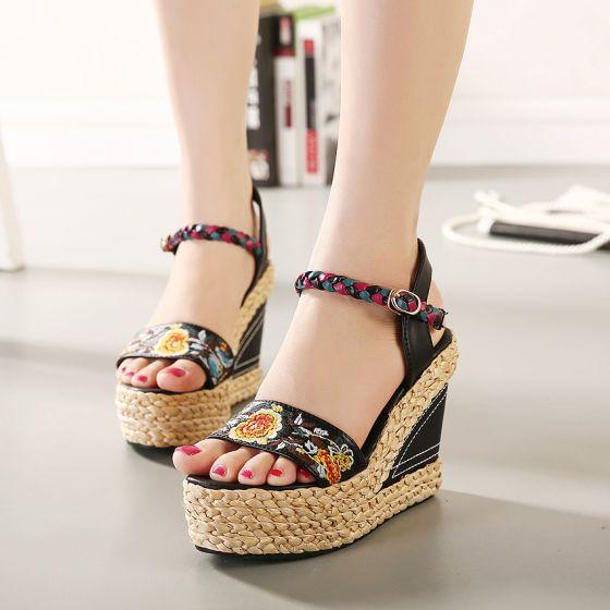 Etnisch Zwarte Toevallig Geborduurde Vlecht Sandalen Dames 2020 Leer 10 cm Sleehakken Peep Toe Sandalen