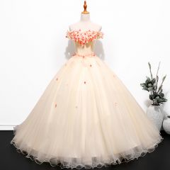 Chic / Beautiful Champagne Prom Dresses 2019 Ball Gown Off-The-Shoulder Lace Flower Appliques Short Sleeve Backless Floor-Length / Long Formal Dresses