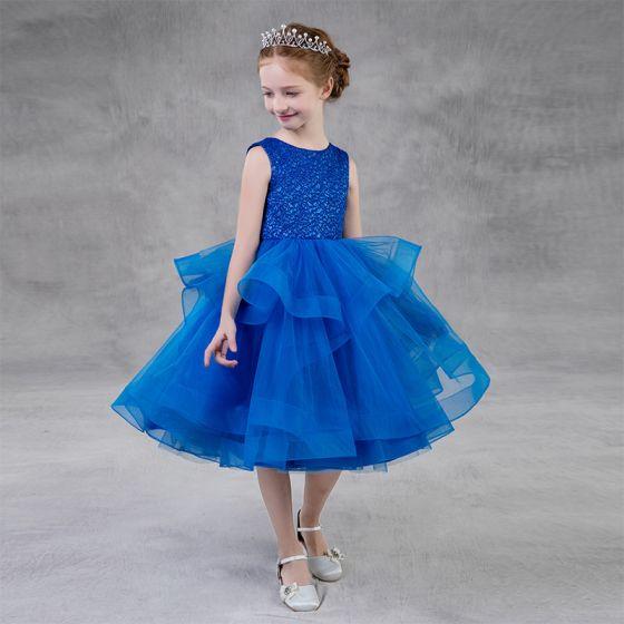 Hermoso Azul Real Cumpleaños Vestidos para niñas 2020 Ball Gown Scoop Escote Sin Mangas Glitter Poliéster Té De Longitud Volantes En Cascada