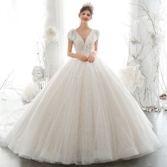 Luxury / Gorgeous Champagne Bridal Wedding Dresses 2020 Ball Gown See-through V-Neck Short Sleeve Backless Appliques Sequins Beading Cathedral Train Ruffle