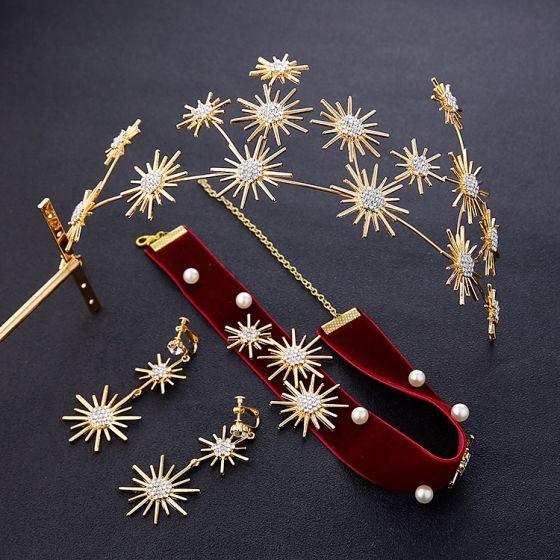 Piękne Złote Biżuteria Ślubna 2019 Metal Tiara Kolczyki Burgund Naszyjnik Rhinestone Ślub Akcesoria
