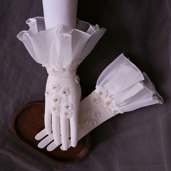 Luxury / Gorgeous White Bridal Gloves 2020 Tulle Handmade  Beading Rhinestone Sequins Prom Wedding Accessories