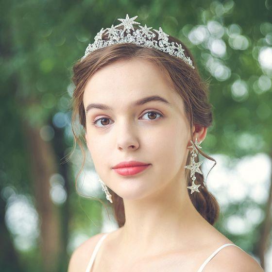 Eleganta Silver Tiara Brud Huvudbonad 2020 Metall Rhinestone Kristall Bröllop Tillbehör