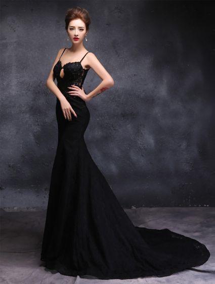 Eleganta Axelband Älskling Appliques Spets Aftonklänning