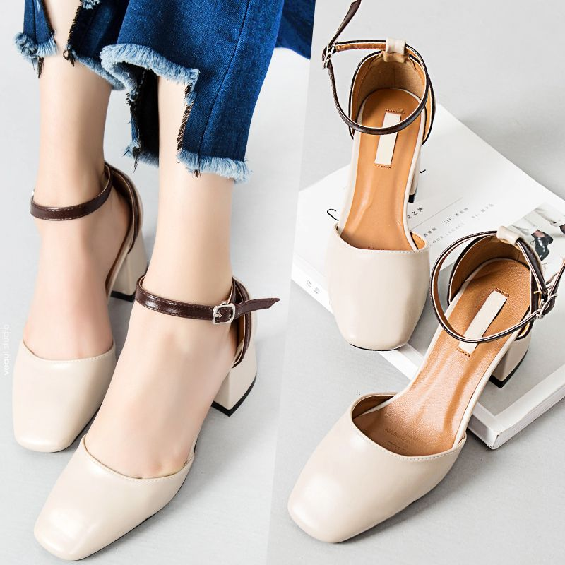 Modest / Simple Apricot / Beige Pumps 2017 Casual Square Toe Ankle Strap Thick Heels