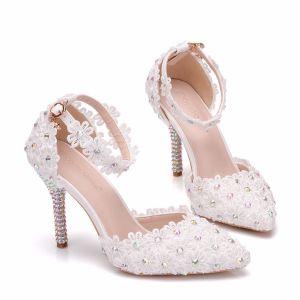 Charming White Wedding Shoes 2018 Lace Ankle Strap Rhinestone 9 cm Stiletto Heels Pointed Toe Wedding High Heels