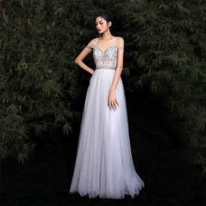 Uroczy Szary Sukienki Wieczorowe 2020 Princessa Spaghetti Pasy Frezowanie Rhinestone Cekiny Bez Rękawów Bez Pleców Długie Sukienki Wizytowe