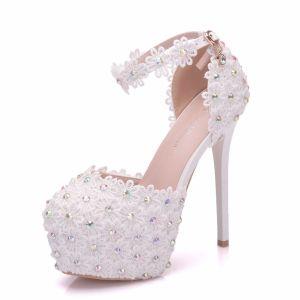 Modern / Fashion White Wedding Shoes 2018 Lace Flower Rhinestone Ankle Strap 14 cm Stiletto Heels Round Toe Wedding High Heels