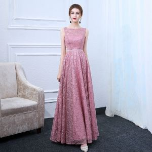 Chic / Beautiful Candy Pink Evening Dresses  2017 A-Line / Princess Square Neckline Sleeveless Crystal Sash Floor-Length / Long Ruffle Backless Formal Dresses