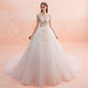 Luxury / Gorgeous Champagne See-through Wedding Dresses 2019 A-Line / Princess Square Neckline Sleeveless Backless Appliques Lace Handmade  Beading Cathedral Train Ruffle