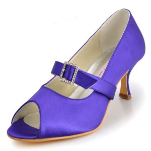 Simple High-grade Satin Wedding Shoes Party Shoes Fish Head Shoes