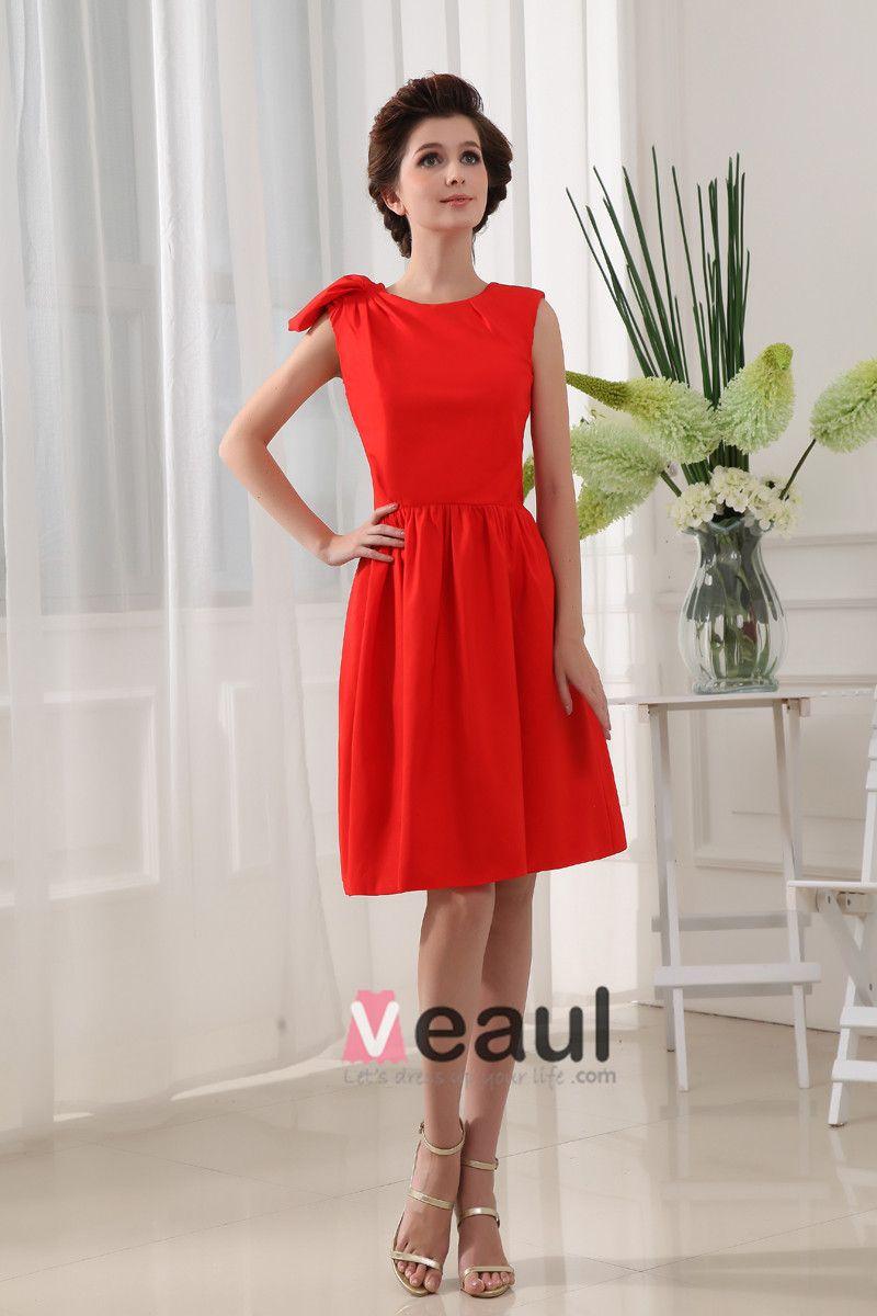 Designer Round Neck Petal Sleeve Knee Length Silk Woman Bridesmaid Dress