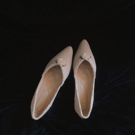 Elegante Vintage Beige Datierung Damenschuhe 2020 5 cm Stilettos Spitzschuh Hochhackige