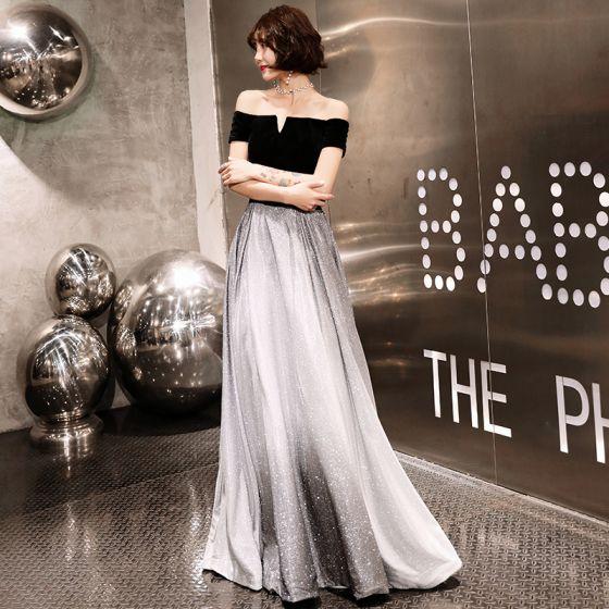 15060196c Elegantes Plata Negro Vestidos de noche 2019 A-Line   Princess Fuera Del  Hombro Manga Corta Cinturón Glitter ...