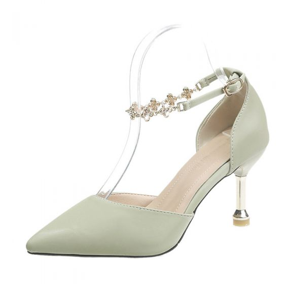 Fashion Sage Green Dating Womens Shoes 2020 Ankle Strap 8 cm Stiletto Heels Pointed Toe Heels
