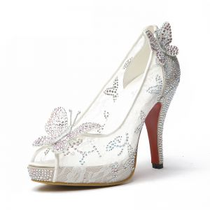 Sparkly White Wedding Shoes 2018 Lace Rhinestone Butterfly High Heels