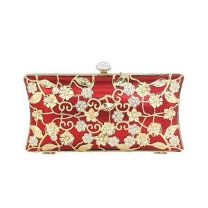 Fashion Hollow Metal Flowers Banquet Clutch Bag Diamond Gorgeous Evening Bag